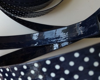 4 yards faux synthetic patent leather pleather strap trim dark navy blue white dots