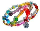Chakra Balancing, Rainbow Pagan Meditation Beads, Karma, Witches Ladder, Prayer / Spell Beads, Rosary Pentacle Charm