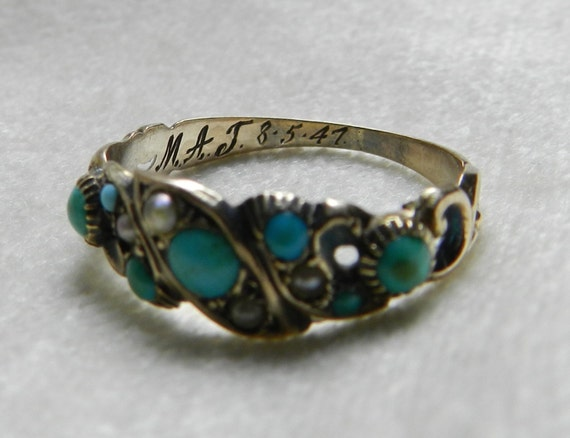 1847 Victorian Turquoise Wedding Band Mermaid Wedding Band Raw