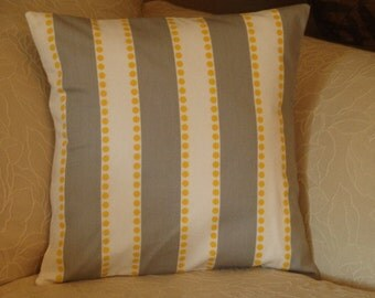 """Pillow Cover - """"Free Shipping"""" - Grey, White and Yellow Stripe Pillow Cover - Handmade"""