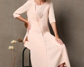 Pink Layered Linen Dress - Semi Fitted with Side Vents/Splits Long Maxi Handmade Womens Dress  - Wedding Party Outfit  C535