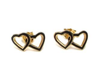 14k Enamel Double Heart Earrings - Yellow Gold and Black Enamel - Stud Earrings - Pierced - Post Back