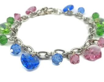 Heart Charm Bracelet with Multi-colored Swarovski Crystal Hearts