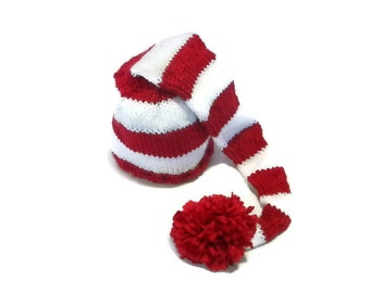 Baby Elf Hat Hand Knit in Red and White