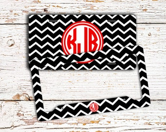 Preppy monogram license plate or frame, Black chevron with red car tag, Personalized bike tag, Custom keychain, Seat belt strap cover (1438)