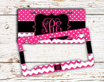 pretty personalized license plate or frame chevron car tag girly car accessory bike plate gift under 20 idea for teenagers 1439