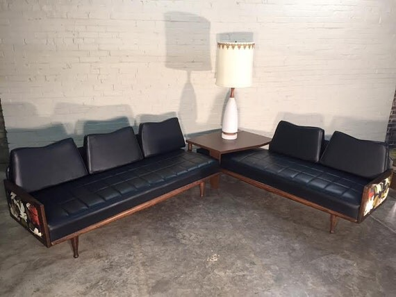 mid century danish modern sectional sofa couch with corner table