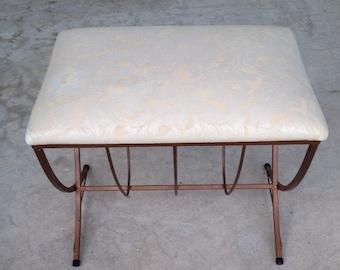 VANITY BENCH Mid Century Upholstered See Item Details Below