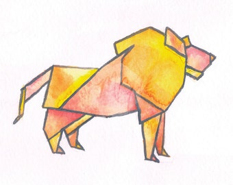 Origami Lion Watercolor Print