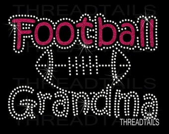 Football Grandma glitter and rhinestone t-shirt for grandmothers.  Ladies clothing, favorite team player, game day shirt, tee.