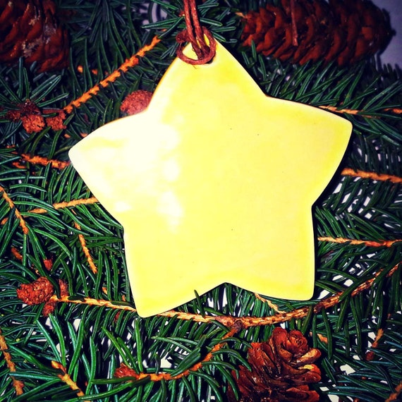 Large yellow star decor christmas ornament by jsbarts on etsy