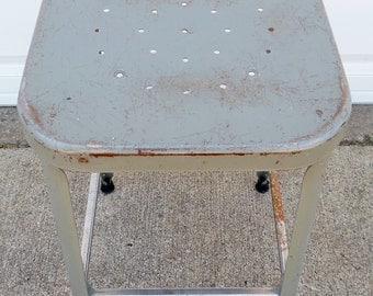 """Vintage, Metal Stool, Industrial, Shop Stool, Grey, Steel, Stool, Counter Height, 24"""" High, Kitchen, Dining Room, Seating, Made by Lyon"""