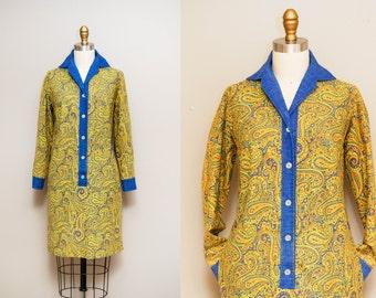 Vintage 1960s 'Charleston Affair' Paisley Print Shift Dress  / Long Sleeves / Shirt Waist / Medium