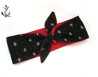 Rockabilly Head scarf head band sailor anchor
