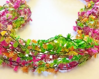 Lime Green, Neon Pink, Orange Crocheted Soft Bracelet
