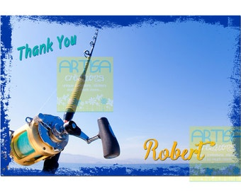 Fishing Thank You card , Fishing thank you note card, Fisherman thank you note card