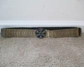 Vintage 80s Bronze Tone Disk Flower Stretch Chain Link Metal Adjustable Cinch Belt Sz L/XL Plus Size