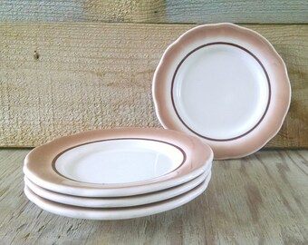 Airbrushed Restaurant Ware Plates Brown and Ivory Set of 4 Scalloped Rim Bread and Butter Plates Buffalo China 1974