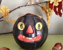 Antique Halloween German Paper Mache Black Cat Face Lantern 1920s Collectible Vintage Halloween Decor