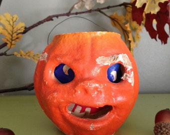 Vintage Halloween 1940's Paper Mache Jack O Lantern Pumpkin Face Candy Container Halloween Display Collectible