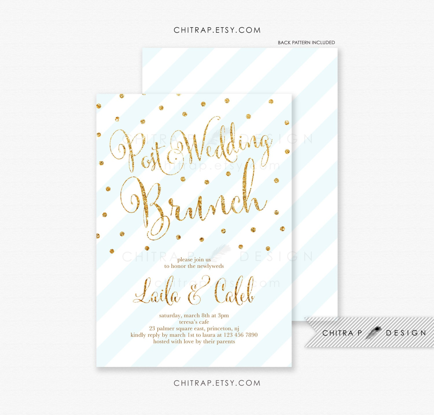 Post Wedding Brunch Invitation Printed Wedding After Party