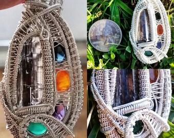 HEADY Epidote, Iolite facet, Spessartine Garnet facet, Amethyst facet, Emerald facet. Fine Silver Wire Wrapped Pendant