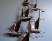 Vintage Mid Century Metal Sculpture Sail boat Wall Hanging   Curtis Jere Style