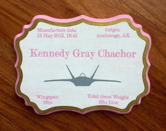 Military Baby Announcement ( F22 Raptor pictured )