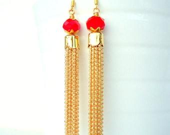 Gold Tassel Earrings, Fire red earrings, Drop earrings, Gold Chain earrings, 2016 trends, glam earrings, long earrings, red orange earrings