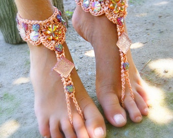 Peach Barefoot Sandals- Foot Jewelry- Footless Sandals- Barefoot Wedding Sandal- Beach Wedding- Bridesmaid gift- Valentine's Gift