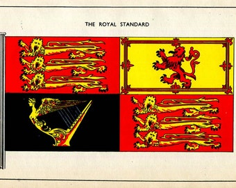 Royal Standard United Kingdom Flag Banner of Arms British Royal Nautical Vintage Print 1930's