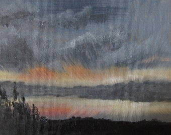 Silent Glow Within - Original Oil Painting Landscape Painting Abstract Painting By Mia Vredenburg, 5x7