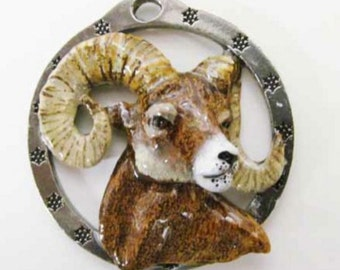 Painted ~ Bighorn Sheep ~ Holiday Ornament ~ MP026OR