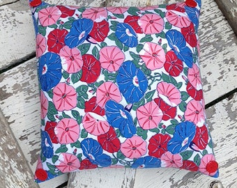 Summer Morning Glory Pillow in Blue, Pink and Red