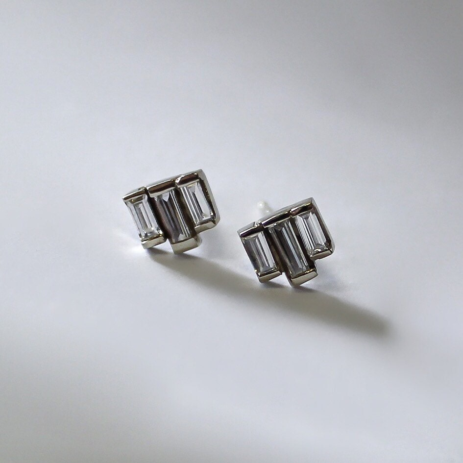 Baguette Diamond Earrings Sales