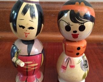 Asian bobbleheads, nodders, small wood dolls