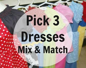 Disney Princess Dress  Disney Dresses for Baby, Toddler & Girls  Set of 3 CUSTOM 100% Cotton Costume  Cinderella Belle Snow White Moana Elsa