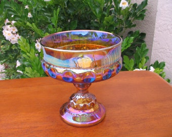 Vtg KING'S CROWN Indiana Glass Iridescent Gold Thumbprint Footed Fruit Compote