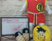 Dragonball set, hybrid fittted cloth diaper, anime outfit, Otaku cloth diaper, anime baby, soft sole shoes, shoes, shirt, pocket cloth