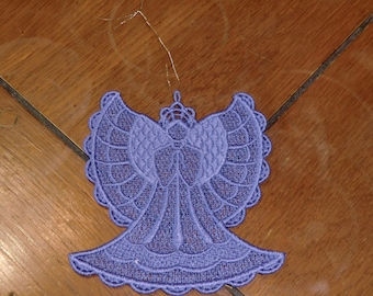 Embroidered Ornament - Christmas - Angel Purple All Thread