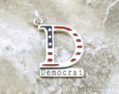 "Sterling Silver Enameled Stars and Stripes ""Democrat""  Charm on a Sterling Silver Split Ring - 2508"