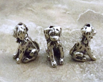 Set of 3 Pewter Dalmation Puppy  Beads - 5479