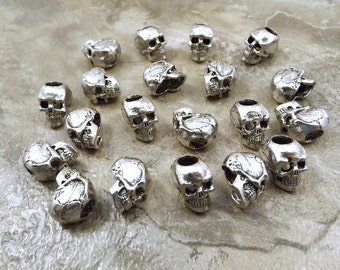 20 Pewter 12mm Skull Beads with 4.5mm Vertical Holes  - 5475