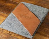Leather iPad Pro 9.7, iPad Air 2 Case, iPad Air 2 Cover, iPad Air 2 Sleeve, iPad Air 2 Pouch : Grey Wool Felt with Brown Leather Pocket