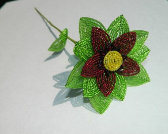 Burgundy and Green French Beaded Flower