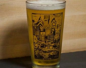 Philadelphia Philly Skyline Glassware -- Paul Carpenter Art -- Beer Pint Glass