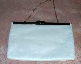 1950s Cream Clutch - Purse  -  Vintage - Party Bag - Etra - Leather