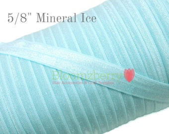"5/8"" Fold Over Elastic -Mineral Ice Color- Lt. Blue Elastic - Baby Blue Elastic - Blue Elastic Fold Over -  Hair Accessories Supplies"