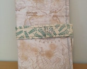 Family Size Passport Wallet, Passport Cover - 4+ Passports - Topographic Map Green Deco Pattern
