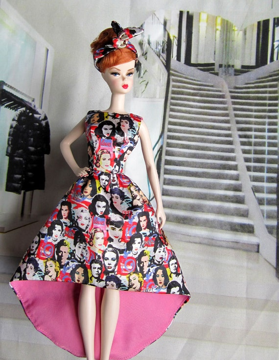 All Star Pop Art Portrait Dress features Marilyon Monroe Audre Hepburn Vivien Leigh Grace Kelly James Dean For Silkstone Barbie Dolls